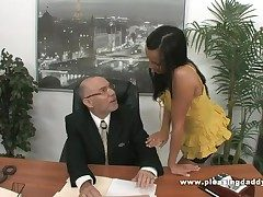 Young Slutty Secretary Fucks Elderly Boss