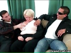 Alcoholic mature gives handjobs anent a handful of guys