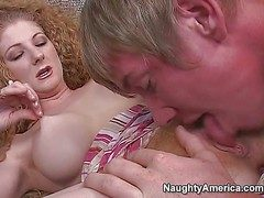 Curly redhead milf enjoys in giving head to the brush new