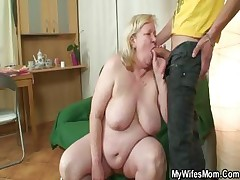 Thick grannie is porked by her son on law