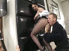 Lyen Parker is taking Rocco Siffredis photos as he spews his cumshots on her face